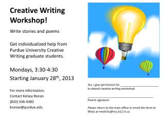 Creative Writing Workshop!