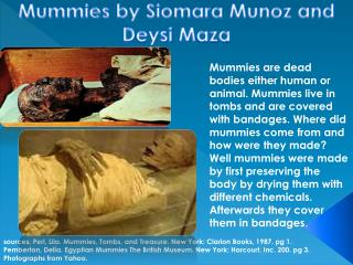 sources:  Perl, Lila.  Mummies, Tombs, and  T reasure. New York: Clarion Books, 1987. pg 1 .