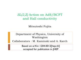 SL(2,Z)  Action on AdS/BCFT  and Hall conductivity