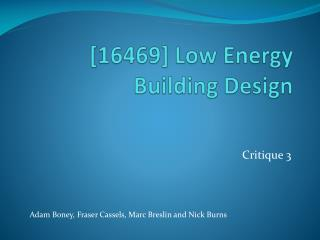 [16469] Low Energy Building Design