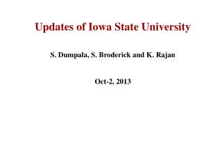 Updates of Iowa State University