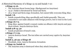 A Historical  Harmony of 2 Kings 15-19 and Isaiah 7-10: 2 Kings 15-16.