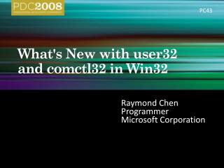 Whats New with user32 and comctl32 in Win32