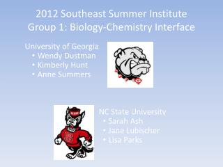2012 Southeast Summer Institute Group 1: Biology-Chemistry Interface
