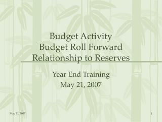 Budget Activity Budget Roll Forward Relationship to Reserves