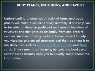 BODY PLANES, DIRECTIONS, AND CAVITIES