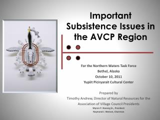 Important Subsistence Issues in the AVCP Region