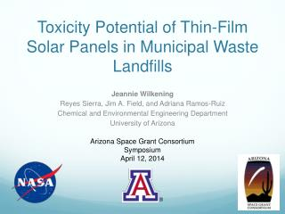 Toxicity Potential of Thin-Film Solar Panels in Municipal Waste Landfills