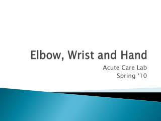 Elbow, Wrist and Hand