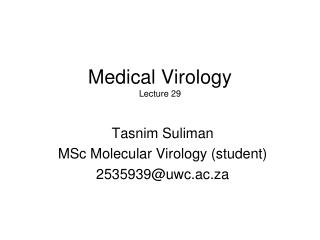 Medical Virology Lecture 29