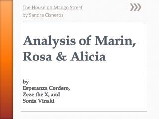 Analysis of Marin, Rosa & Alicia by  Esperanza Cordero, Zeze  the X, and  Sonia  Vinski