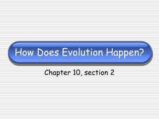 How Does Evolution Happen?