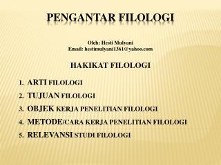 PENGANTAR FILOLOGI