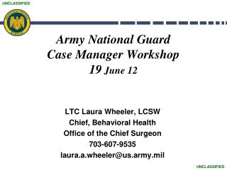 Army National Guard  Case Manager Workshop 19  June 12