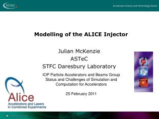 Modelling  of the ALICE Injector