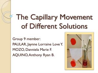 The Capillary Movement of Different Solutions