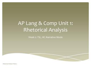 AP Lang & Comp Unit 1: Rhetorical Analysis