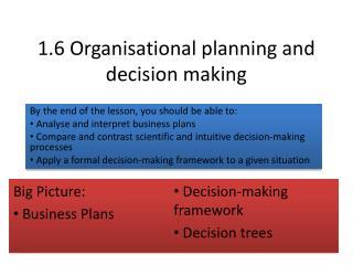 1.6 Organisational planning and decision making