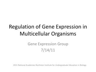 Regulation of Gene Expression in Multicellular Organisms