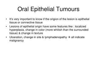 Oral Epithelial Tumours