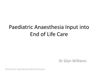 Paediatric Anaesthesia Input into End of Life Care