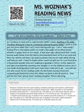 Ms. Wozniak's Reading News