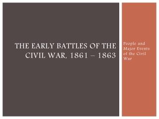 The early battles of the Civil War, 1861 – 1863