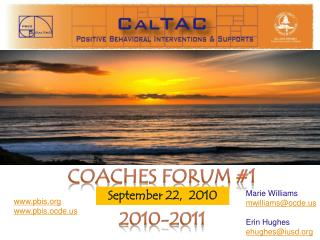 Coaches Forum #1 2010-2011