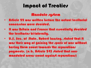 Impact of Treaties
