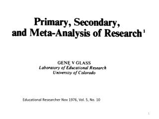 Educational Researcher Nov 1976, Vol. 5, No. 10