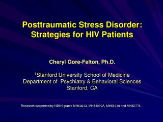 Posttraumatic Stress Disorder:  Strategies for HIV Patients