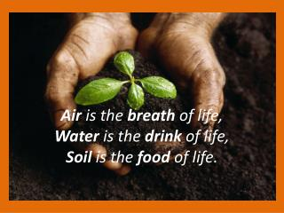 Air  is the  breath  of life,  Water  is the  drink  of life,  Soil  is the  food  of life.