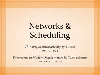 Networks & Scheduling