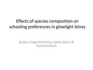 Effects of species composition on schooling preferences in glowlight tetras