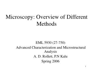 Microscopy: Overview of Different Methods