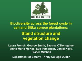 Biodiversity across the forest cycle in ash and Sitka spruce plantations: