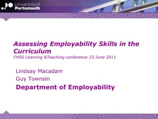 Lindsay Macadam Guy  Townsin Department of Employability