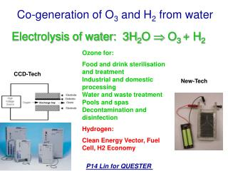Co-generation of O 3  and  H 2  from water
