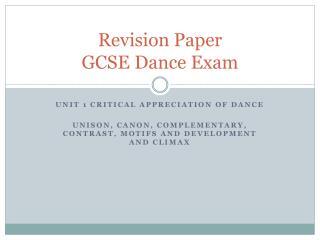 Revision Paper  GCSE Dance Exam
