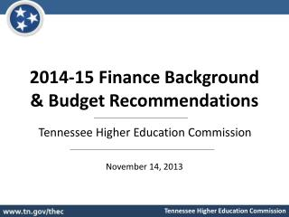 2014-15 Finance Background & Budget Recommendations
