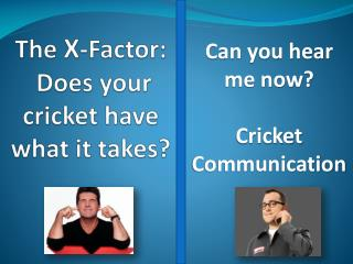 The X -Factor : Does your cricket have what it takes?