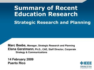 Summary of Recent Education Research Strategic Research and Planning