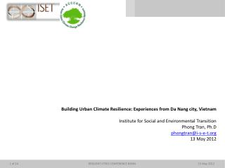 Building Urban Climate Resilience: Experiences from Da Nang city,  Vietnam