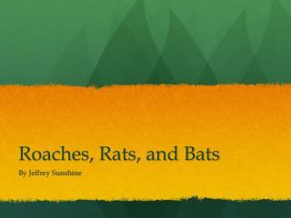 Roaches, Rats, and Bats