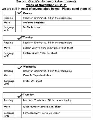 Second Grade's Homework Assignments Week of  Novem ber  28 , 2011