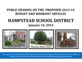 HAMPSTEA D SCHOOL DISTRICT January 14, 2013