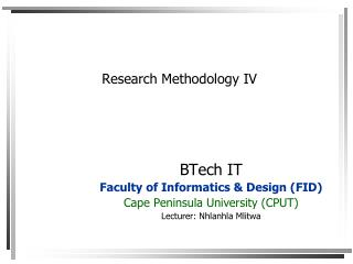 Research Methodology IV