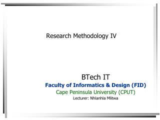 Research Methodology IV
