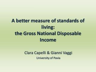 A  better measure  of  standards  of living:  the  Gross  National  Disposable Income