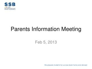 Parents  Information Meeting